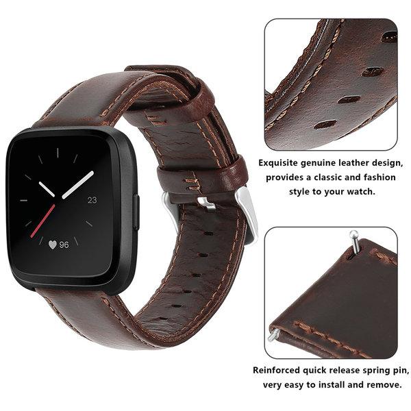 123Watches Fitbit Versa genuine leather band - dark brown