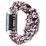 123Watches Fitbit charge 3 & 4  scrunchie band - flowers purple