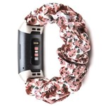 123Watches Fitbit charge 3 & 4  scrunchie band - bloemen roze
