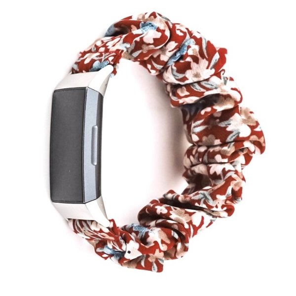123Watches Fitbit charge 3 & 4  scrunchie band - flowers red