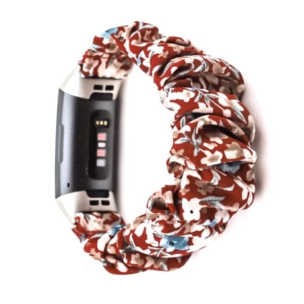 123Watches Fitbit charge 3 & 4  scrunchie band - bloemen rood