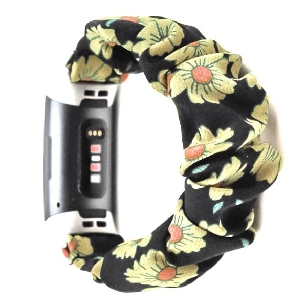 123Watches Fitbit charge 3 & 4  scrunchie band - zonnebloem