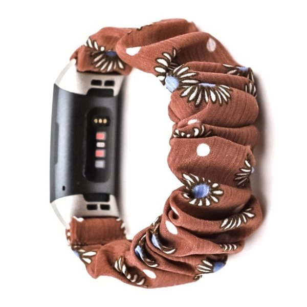 123Watches Fitbit charge 3 & 4 Scrunchie Band - Marguerite