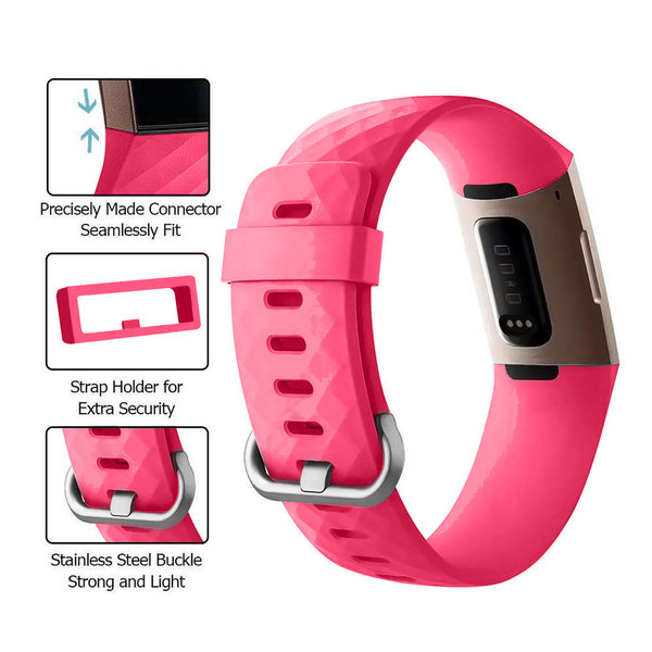 123Watches Fitbit charge 3 & 4 bande de gaufres sport - rose rouge
