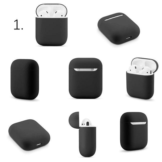 Merk 123watches Apple AirPods 1 & 2 effen soft case - zwart