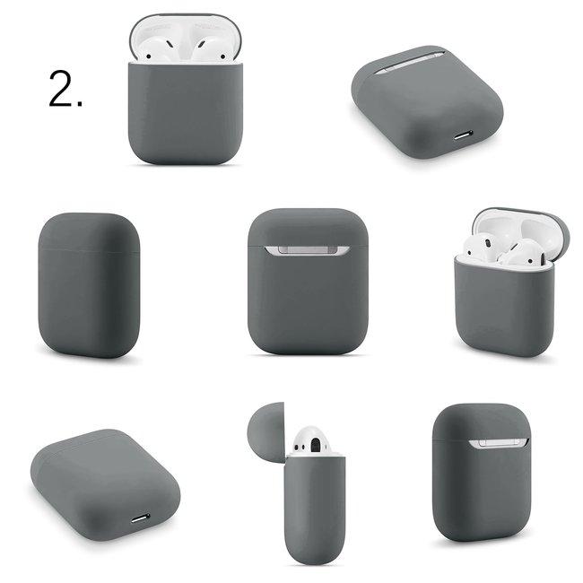 Merk 123watches Apple AirPods 1 & 2 effen soft case - advanced ash