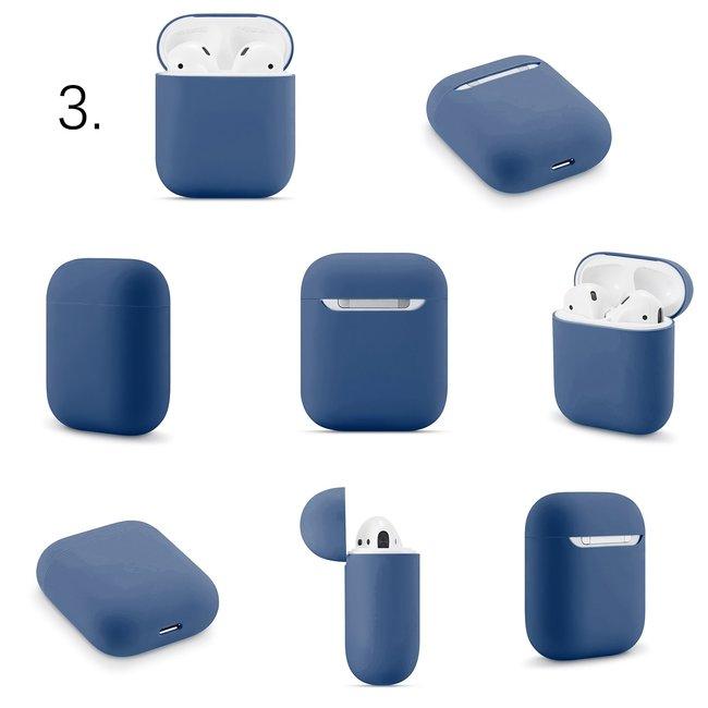 Merk 123watches Apple AirPods 1 & 2 effen soft case - blauw grijs