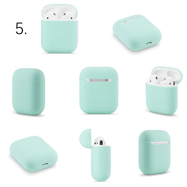 123Watches Apple AirPods 1 & 2 solid soft case - coast blue