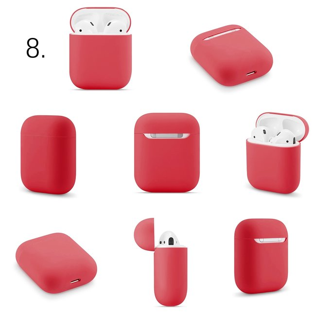 Apple AirPods 1 & 2 effen soft case - rood