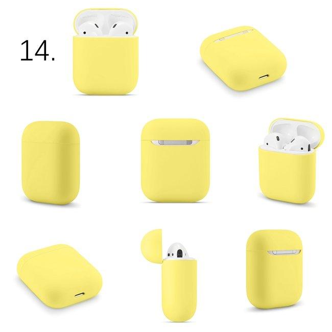 Merk 123watches Apple AirPods 1 & 2 effen soft case - limoengeel