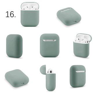 Merk 123watches Apple AirPods 1 & 2 effen soft case - grijsachtig groen