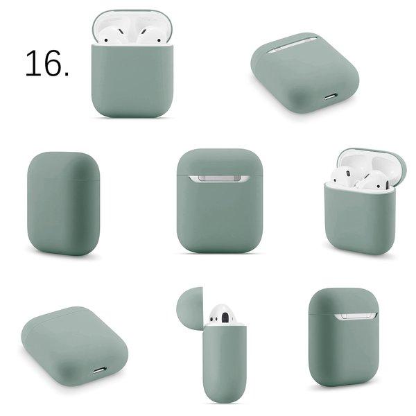 123Watches Étui rigide solide Apple AirPods 1 & 2 - vert grisâtre