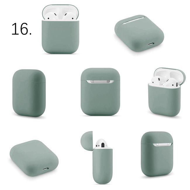 Apple AirPods 1 & 2 effen soft case - grijsachtig groen