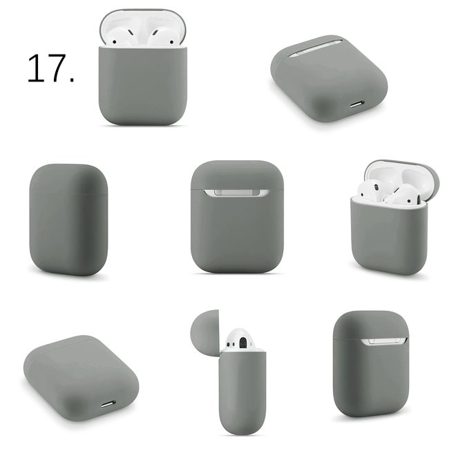 Merk 123watches Apple AirPods 1 & 2 effen soft case - grijs