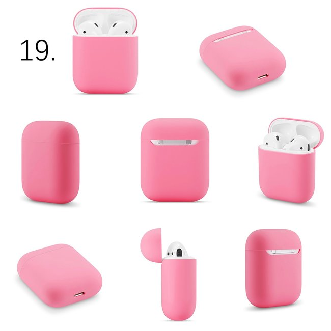 Apple AirPods 1 & 2 effen soft case - rose rood