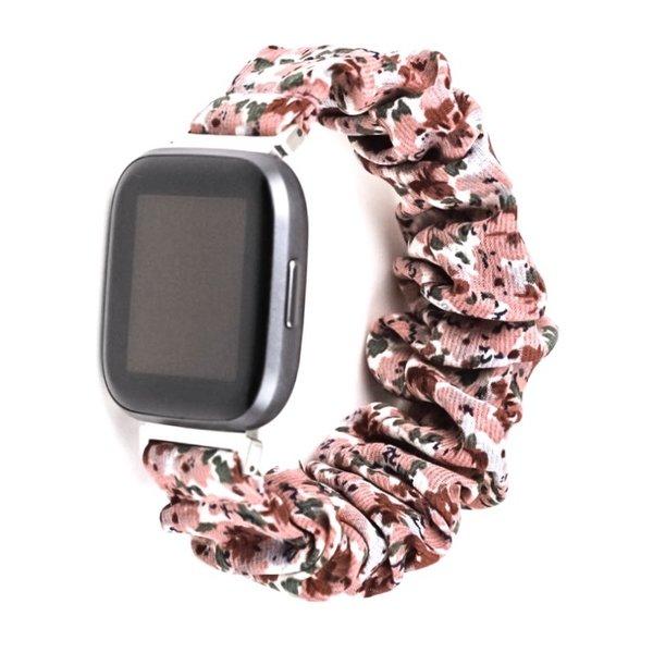 123Watches Fitbit Versa scrunchie band - bloemen roze