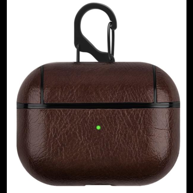 Apple AirPods PRO leather hard case - dark brown