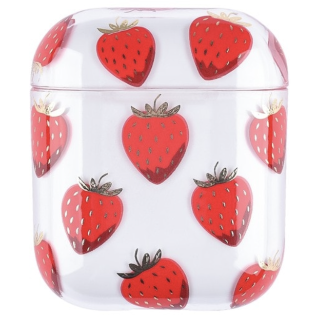 123Watches Apple AirPods 1 & 2 transparent fun hard case - strawberry