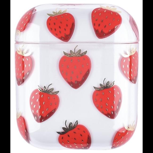 Merk 123watches Apple AirPods 1 & 2 transparent fun hard case - strawberry