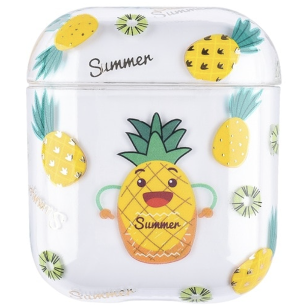 123Watches Coque Rigide Amusante Transparente pour Apple AirPods 1 & 2 - ananas