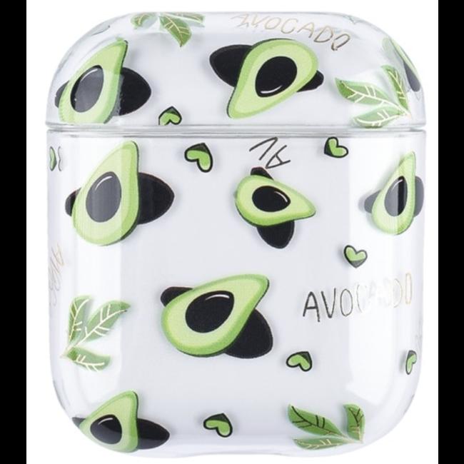 Merk 123watches Apple AirPods 1 & 2 transparent fun hard case - avocado