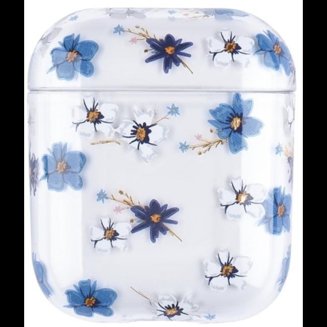 Apple AirPods 1 & 2 transparant fun hard case - blauwe bloem