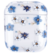 Merk 123watches Apple AirPods 1 & 2 transparant fun hard case - blauwe bloem