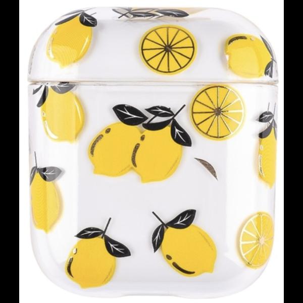123Watches Coque Rigide Amusante Transparente pour Apple AirPods 1 & 2 - citron