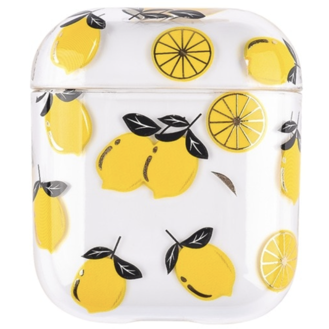 Merk 123watches Apple AirPods 1 & 2 transparent fun hard case - lemon
