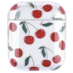 123Watches Apple AirPods 1 & 2 transparant fun hard case - kersen