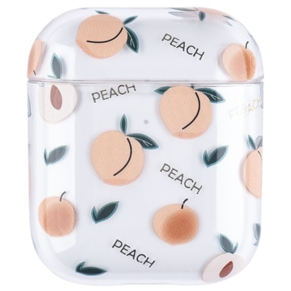 123Watches Apple AirPods 1 & 2 transparent fun hard case - peach