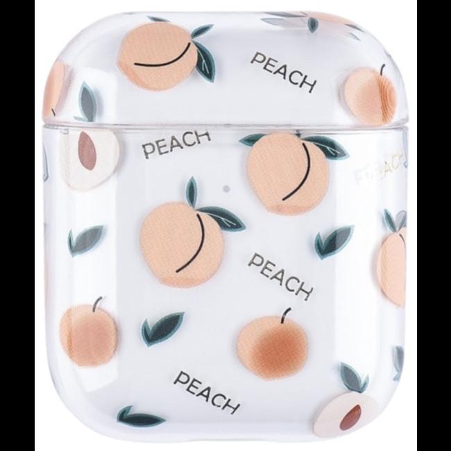 Merk 123watches Apple AirPods 1 & 2 transparant fun hard case - perzik
