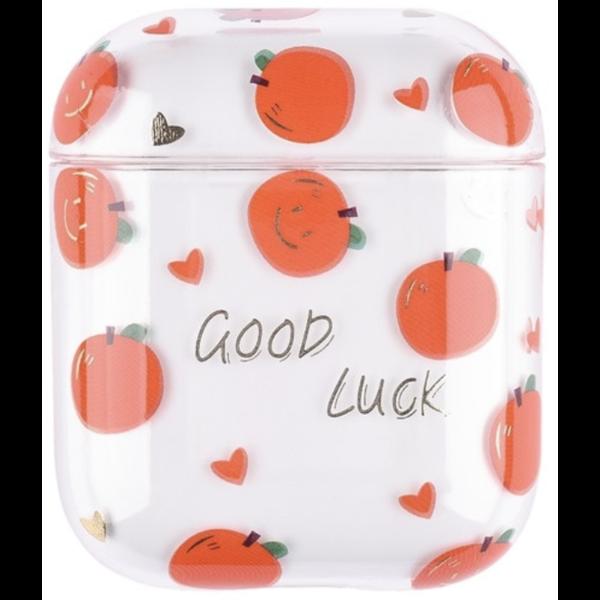 123Watches Apple AirPods 1 & 2 transparent fun hard case - orange