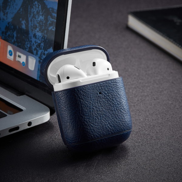 123Watches Apple AirPods 1 & 2 solid leather case - blue