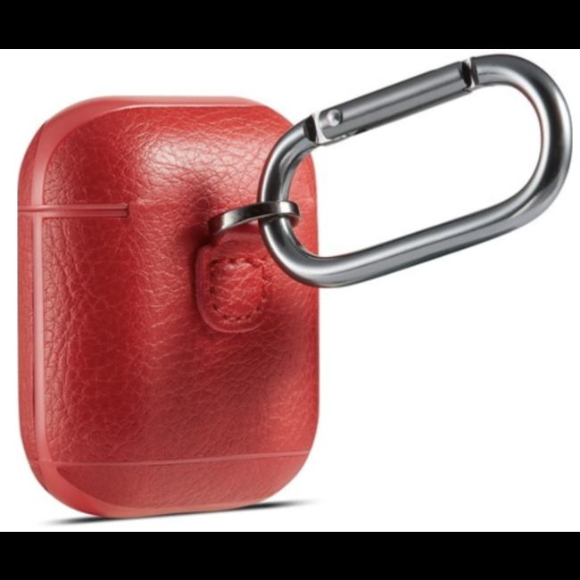 Apple AirPods 1 & 2 effen lederen case - rood