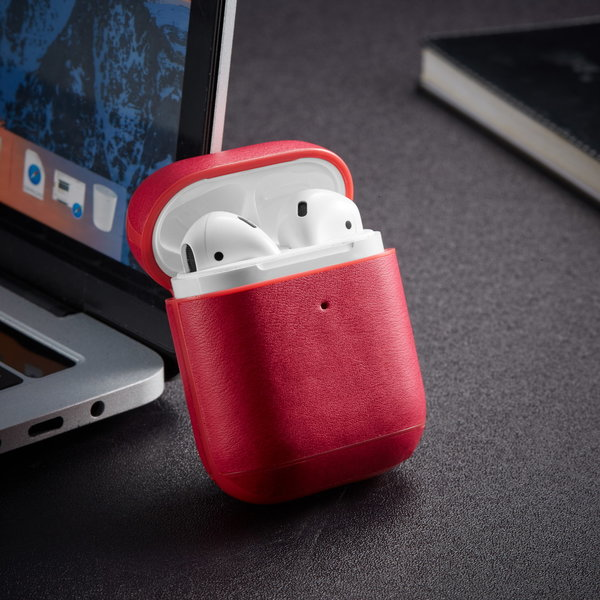 123Watches Apple AirPods 1 & 2 solid leather case - red
