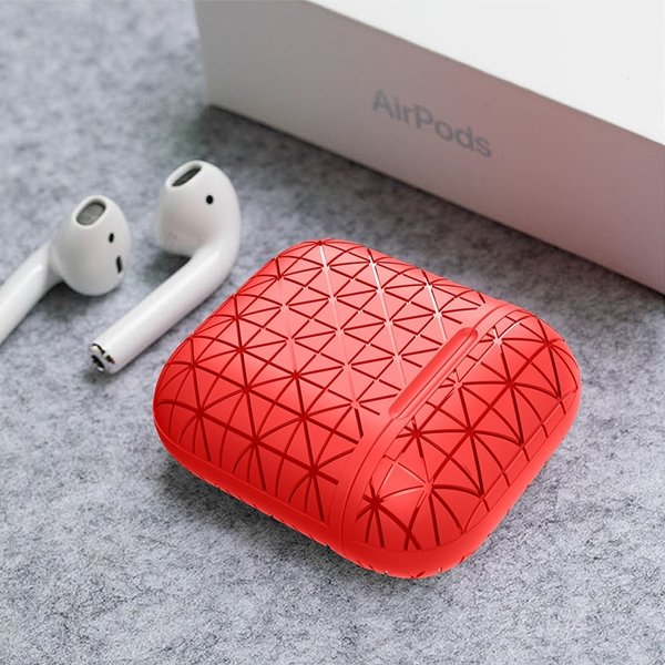 123Watches Étui rigide triangle Apple AirPods 1 & 2 - rouge