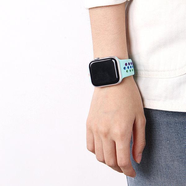 123Watches Apple watch double sport bandje - colorful light blue