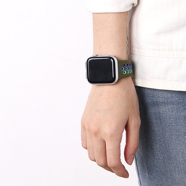 123Watches Apple watch double sport bandje - colorful green