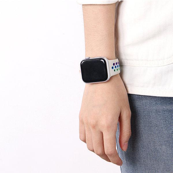123Watches Apple watch dubbel sport bandje - kleurrijk antiekwit