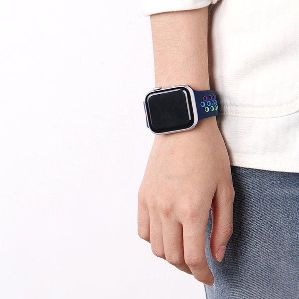 123Watches Apple watch dubbel sport bandje - kleurrijk donkerblauw