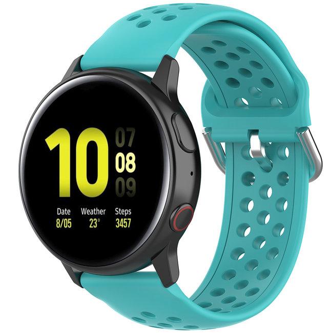 Merk 123watches Garmin Vivoactive / Vivomove silicone dubbel gesp band - groenblauw