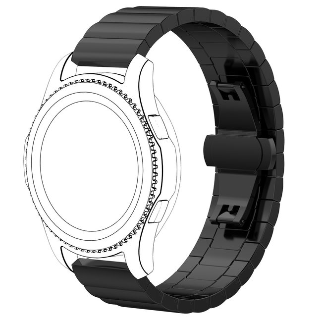 Garmin Vivoactive / Vivomove stalen schakel band - zwart