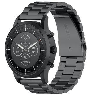 Merk 123watches Garmin Vivoactive / Vivomove drie stalen schakel beads band - zwart