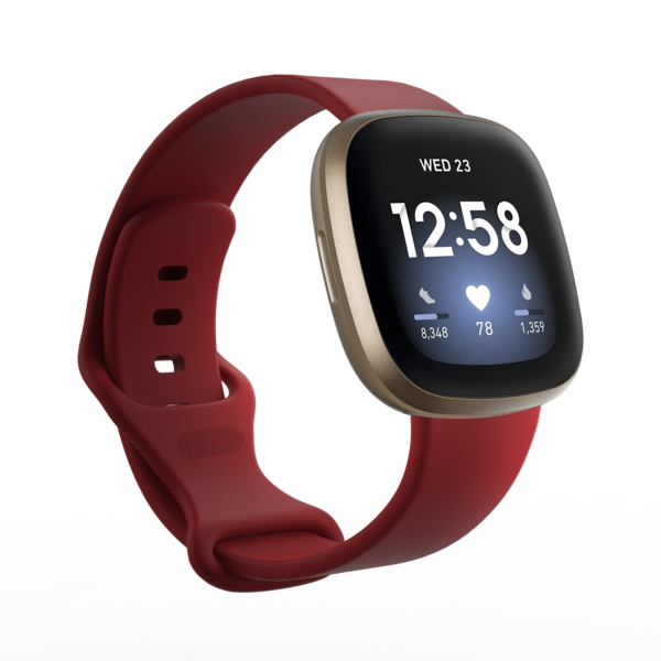 123Watches Fitbit Versa 3 / Sense sport band - donker rood
