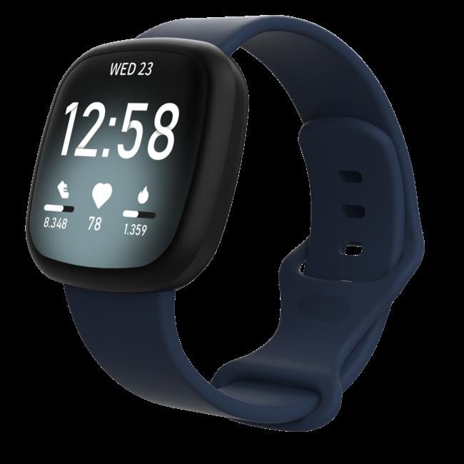 Merk 123watches Fitbit Versa 3 / Sense sport band - marineblauw