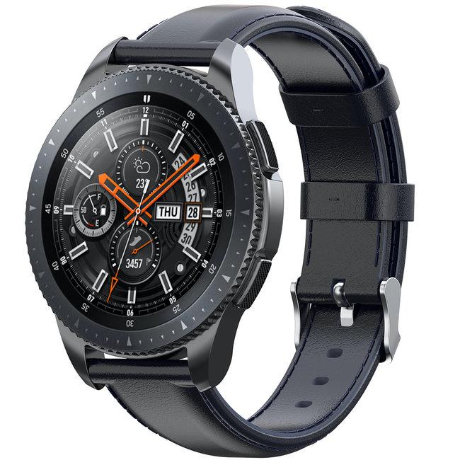 Merk 123watches Samsung Galaxy Watch leren band - donkerblauw