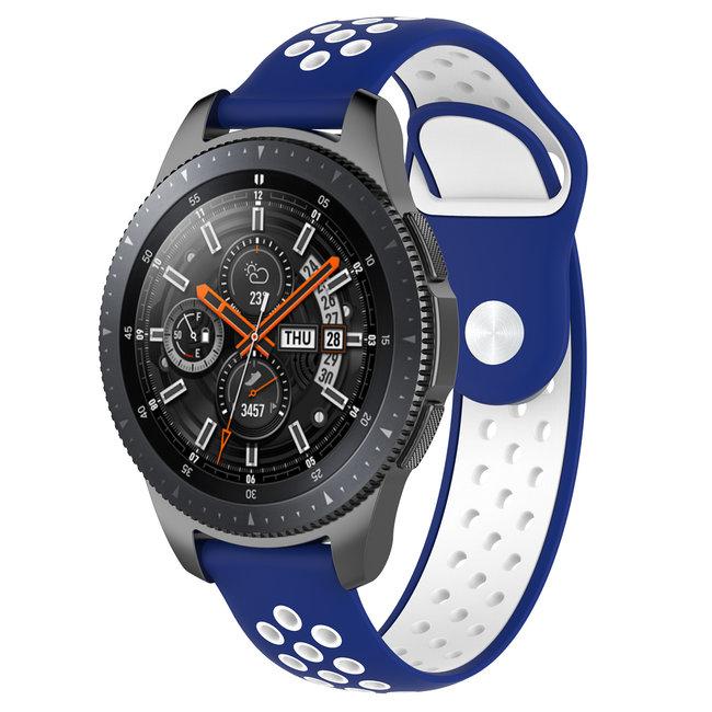 Merk 123watches Samsung Galaxy Watch silicone dubbel band - blauw wit