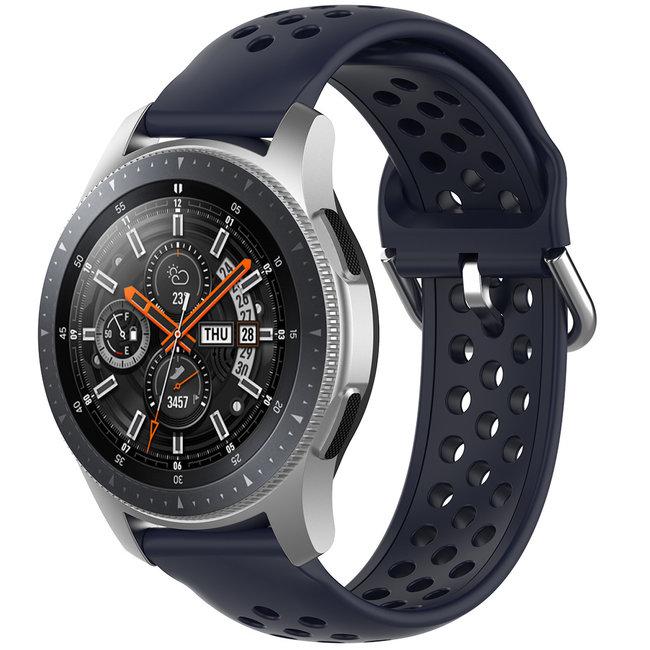 Merk 123watches Samsung Galaxy Watch silicone dubbel gesp band - donkerblauw