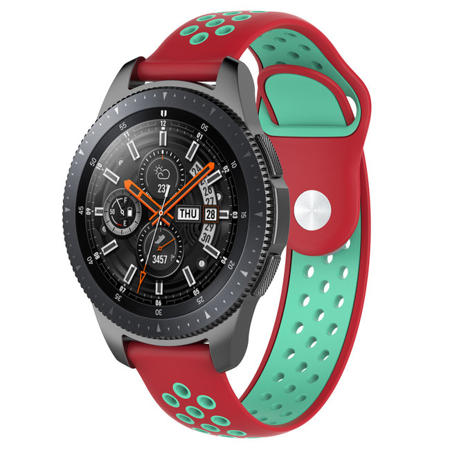 123Watches Samsung Galaxy Watch silicone dubbel band - rood groenblauw